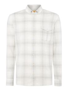 Hugo Boss Elabor faded check long-sleeve shirt