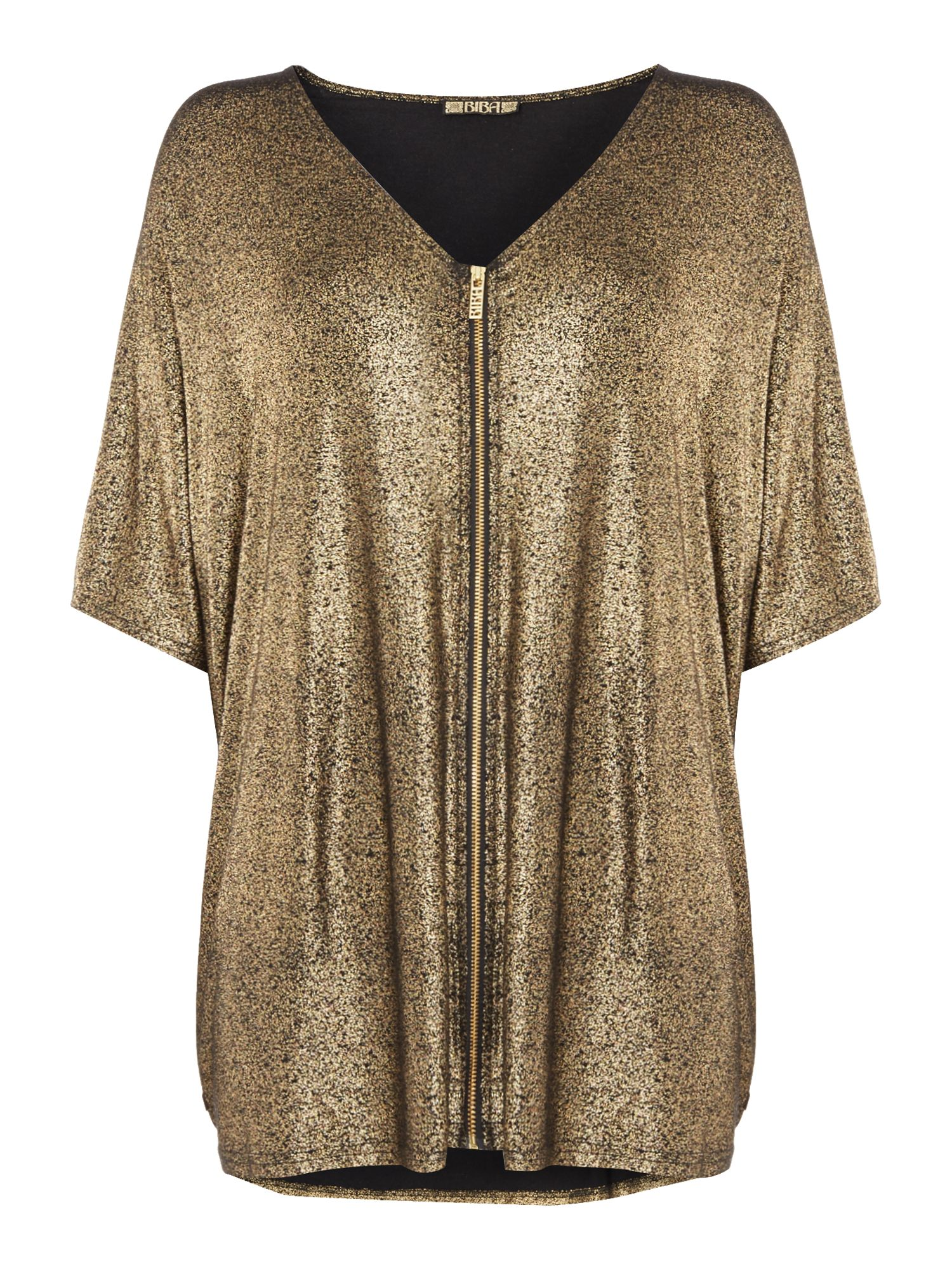 Biba Biba Luxe casualwear metallic zip jersey top, Gold