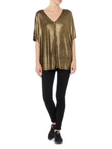 Biba Luxe casualwear metallic zip jersey top