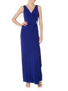 Lauren Ralph Lauren V-neck wrap gown with pin