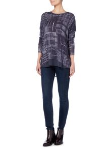 Label Lab Check print knit and chiffon layered top