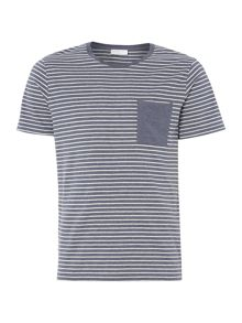 Selected Homme Contrast Stripe Pocket Short-Sleeve T-shirt