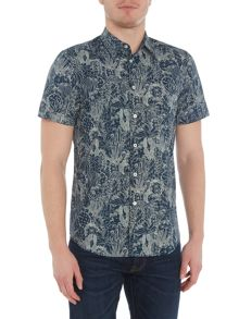 PS By Paul Smith  Short Sleeve Dessert Print Oxford Shirt