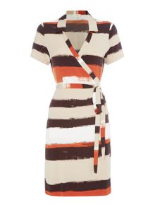Linea Brush stroke stripe wrap dress
