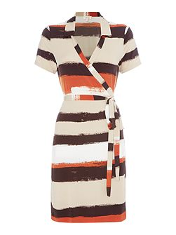 Brush stroke stripe wrap dress