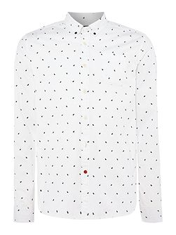 AMS Blauw Allover Print Slim Fit Shirt
