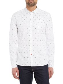 Scotch & Soda AMS Blauw Allover Print Slim Fit Shirt