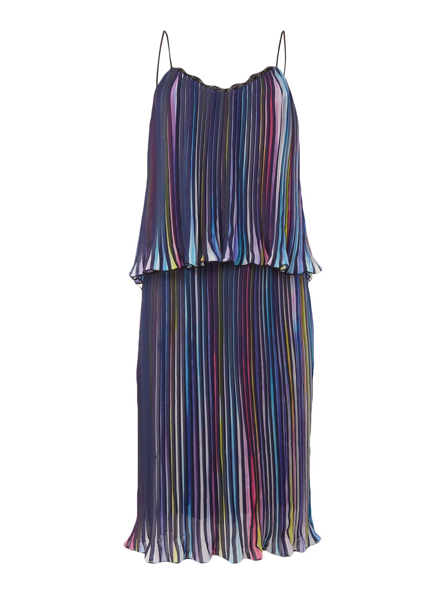 Little White Lies Thin Strap Overlay Pleated Mini Dress, Multi-Coloured