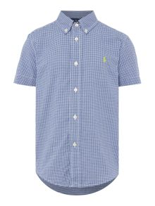 Polo Ralph Lauren Boys Poplin Gingham Short Sleeve Shirt