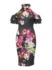 Jessica Wright Longsleeve Highneck Coldshoulder Floral Dress