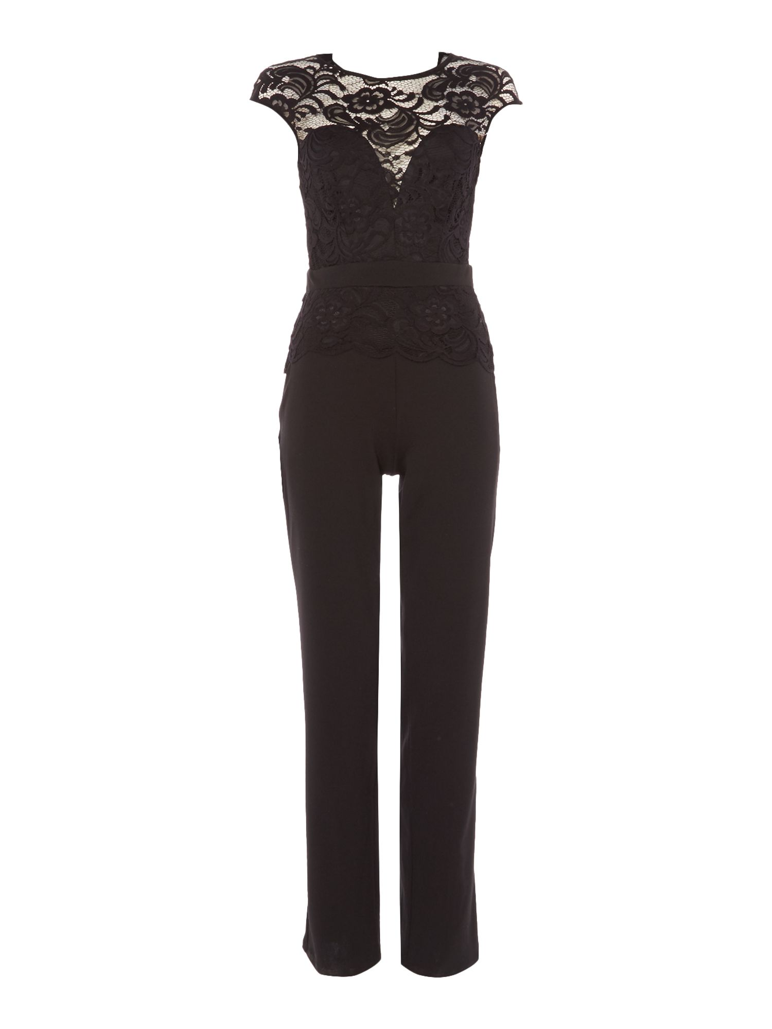 Jessica Wright Jessica Wright Sleeveless Lace Top Jumpsuit, Black