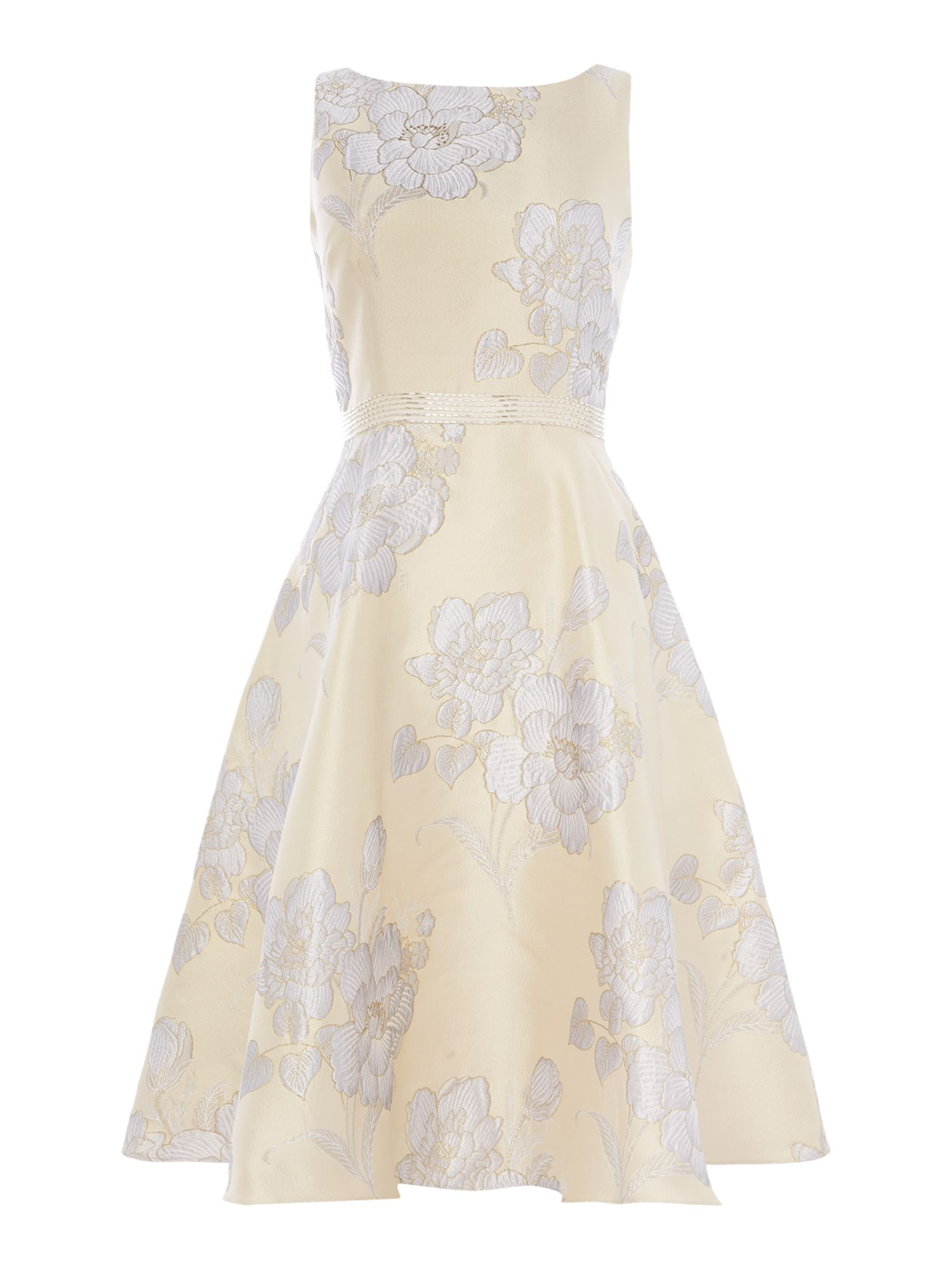 Adrianna Papell Jacquard floral print dress, Silver