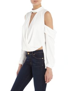 Bardot Cold Shoulder Long Sleeve Drape Top