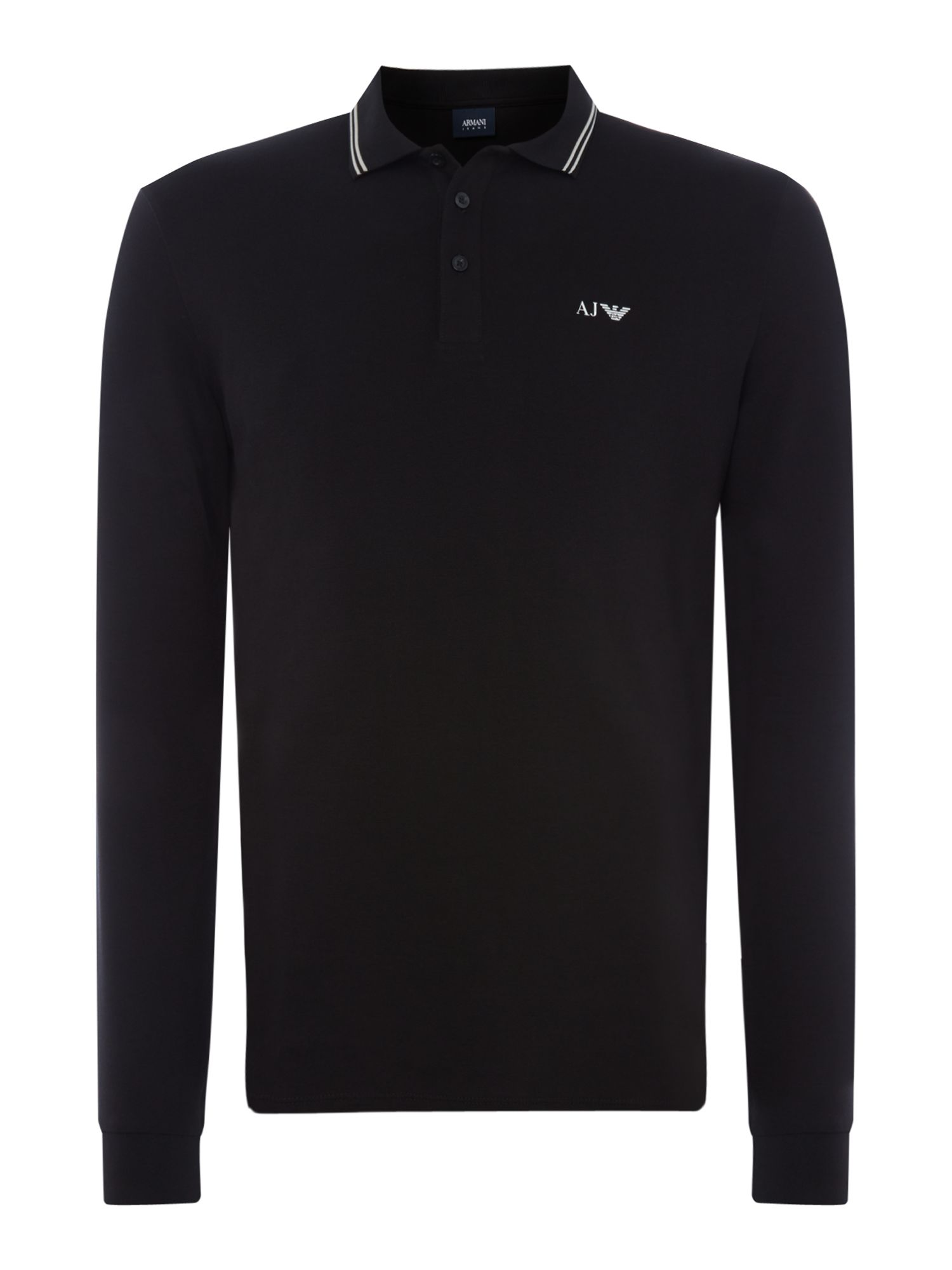 Men's Armani Jeans Long sleeve tipped polo shirt, Black