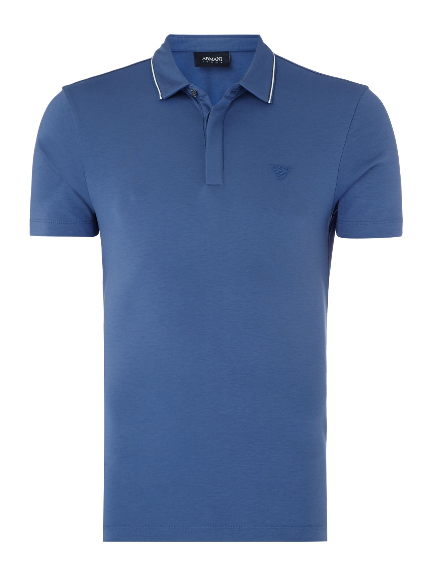 Men's Armani Jeans Mercerised cotton slim fit polo shirt, Blue