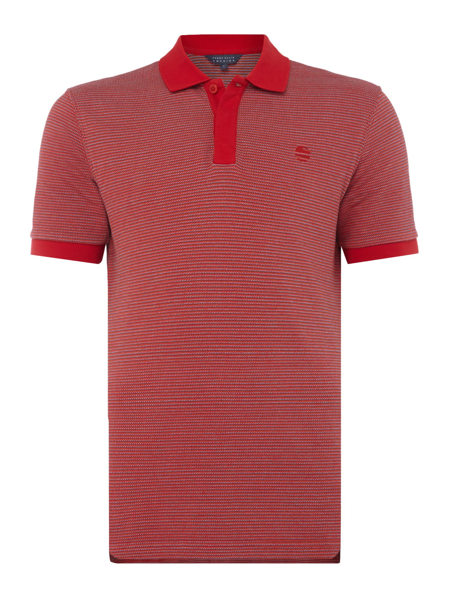 Men's Perry Ellis America Birdseye Texture Short-Sleeve Cotton Polo-Shirt, Red