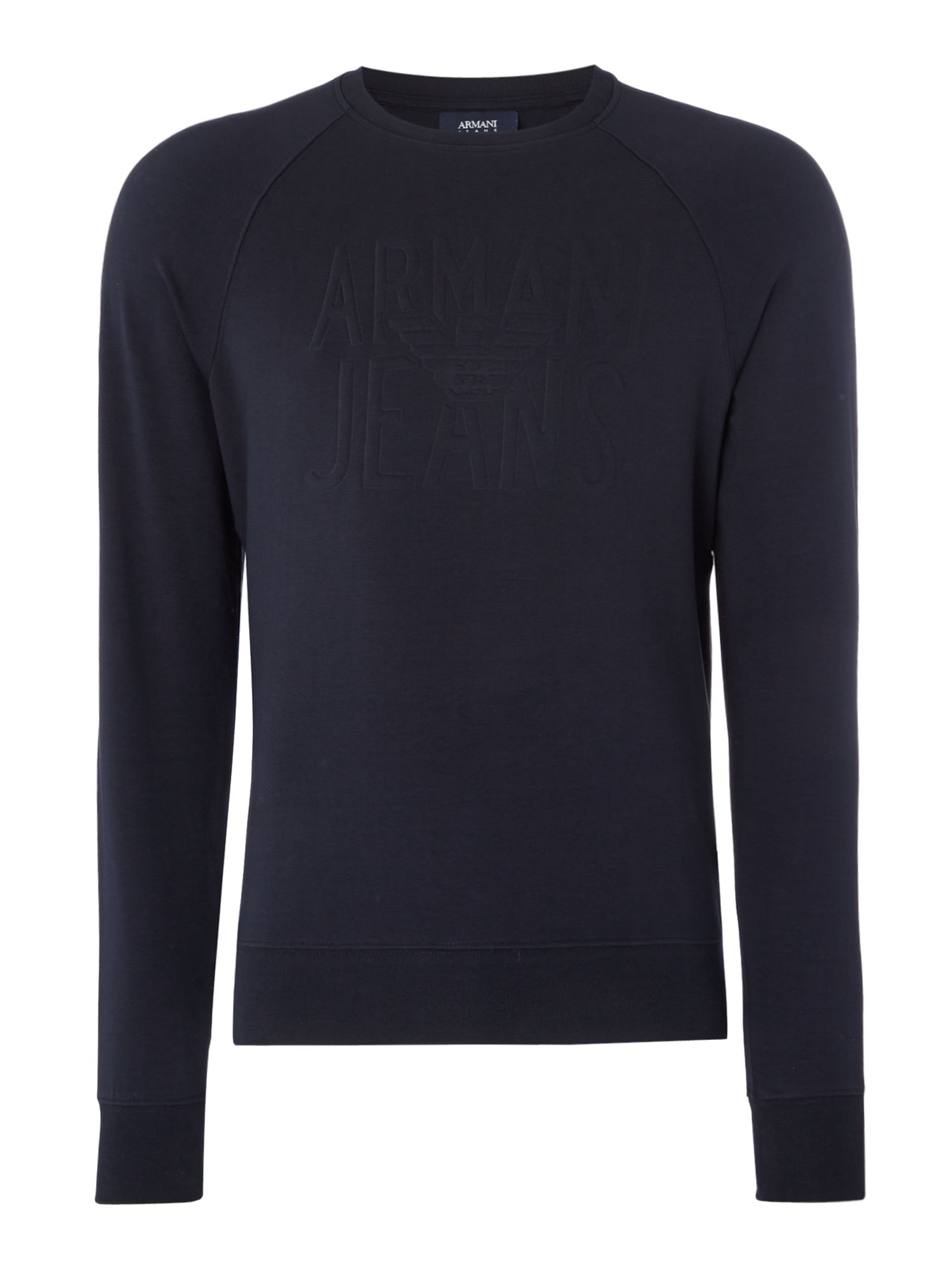 Men's Armani Jeans Embossed logo crew neck sweatshirt, Blue