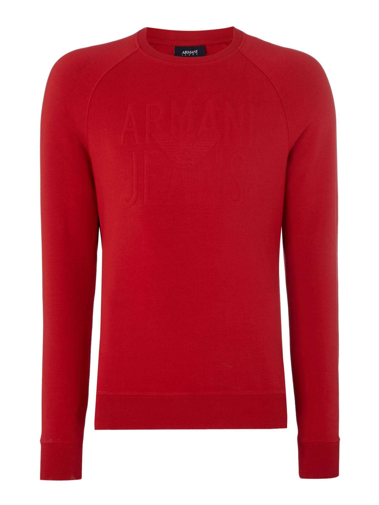 Men's Armani Jeans Embossed logo crew neck sweatshirt, Red