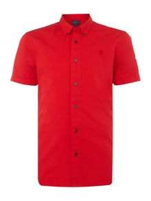Perry Ellis America Button-Through Short-Sleeve Cotton Shirt