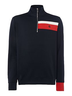 Neoprene Stripe Half Zip Sweatshirt