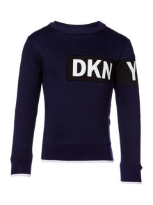 DKNY Boys Rubber Effect Logo Sweater