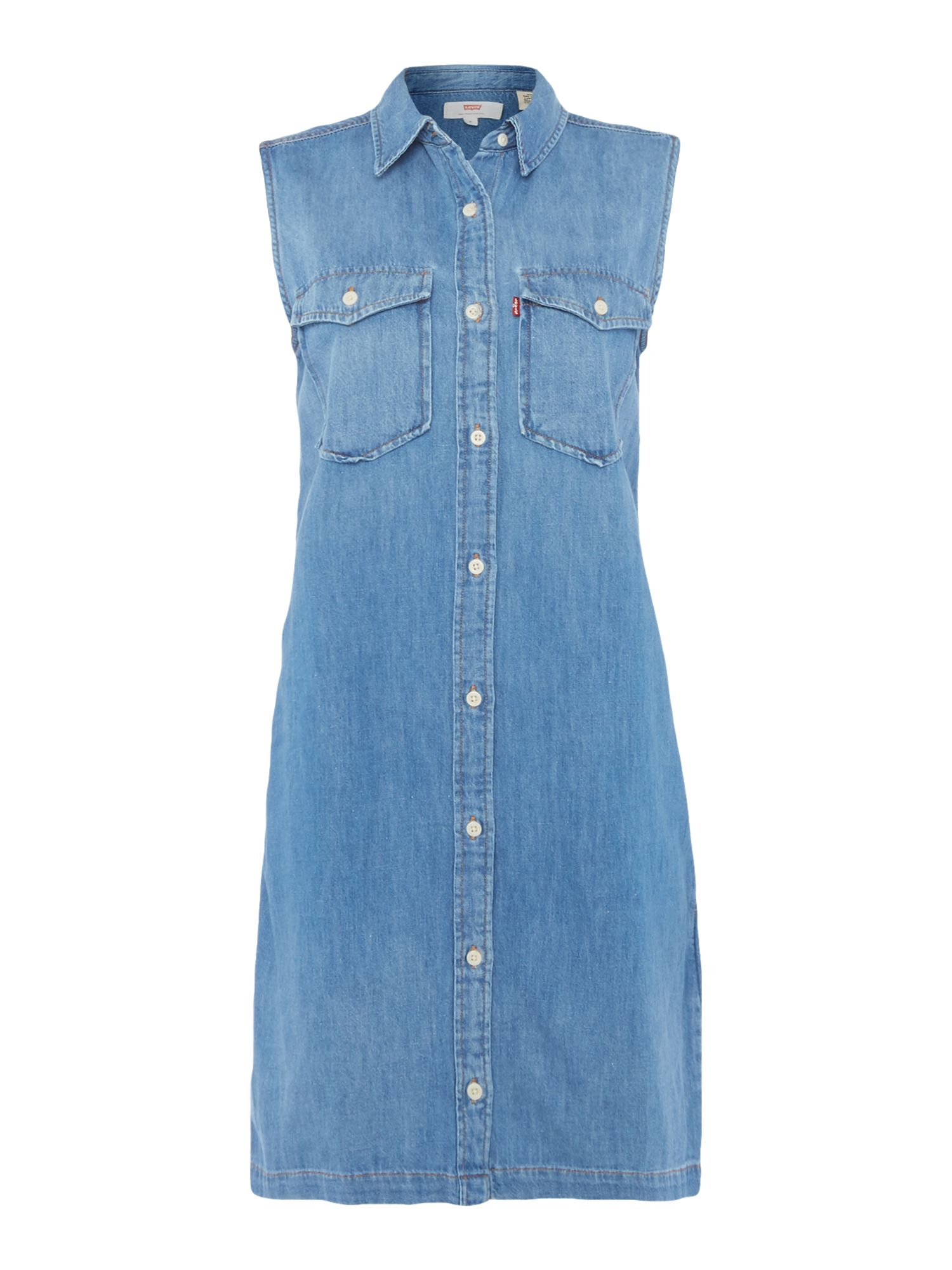 Levi's 70s Western denim dress in lithium blue, Denim Light Wash