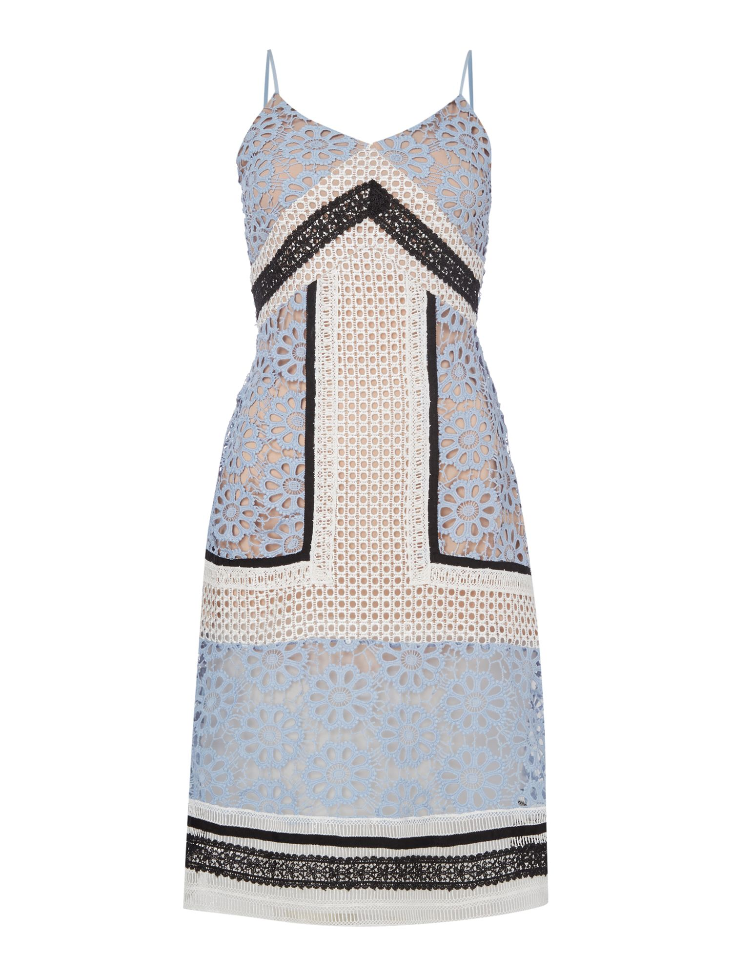 Endless Rose Sleeveless VNeck Embroidered Pannel Shift Dress, Pale Blue
