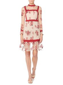 Endless Rose Long Sleeve Fit & Flare Print Dress