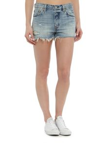 Levi's 501 frayed and distressed short in waveline