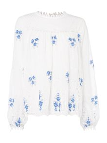 Endless Rose Long Sleeve Embroidered Detail Blouse