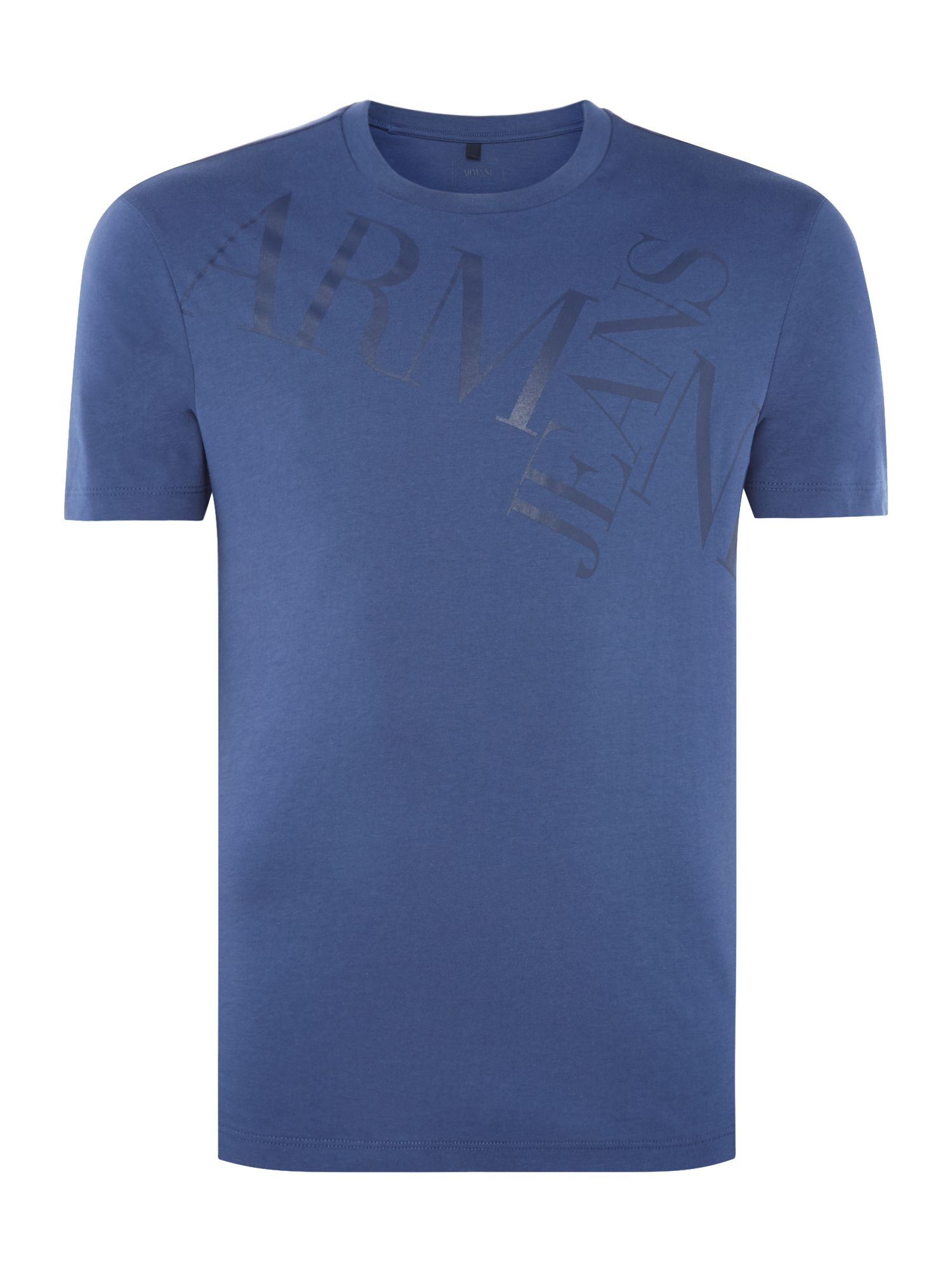 Men's Armani Jeans Armani Text Crew Neck T-Shirt, Blue