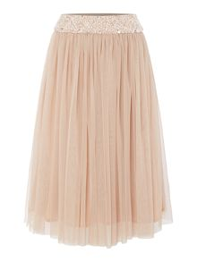 Lace and Beads Embellished midi skirt.