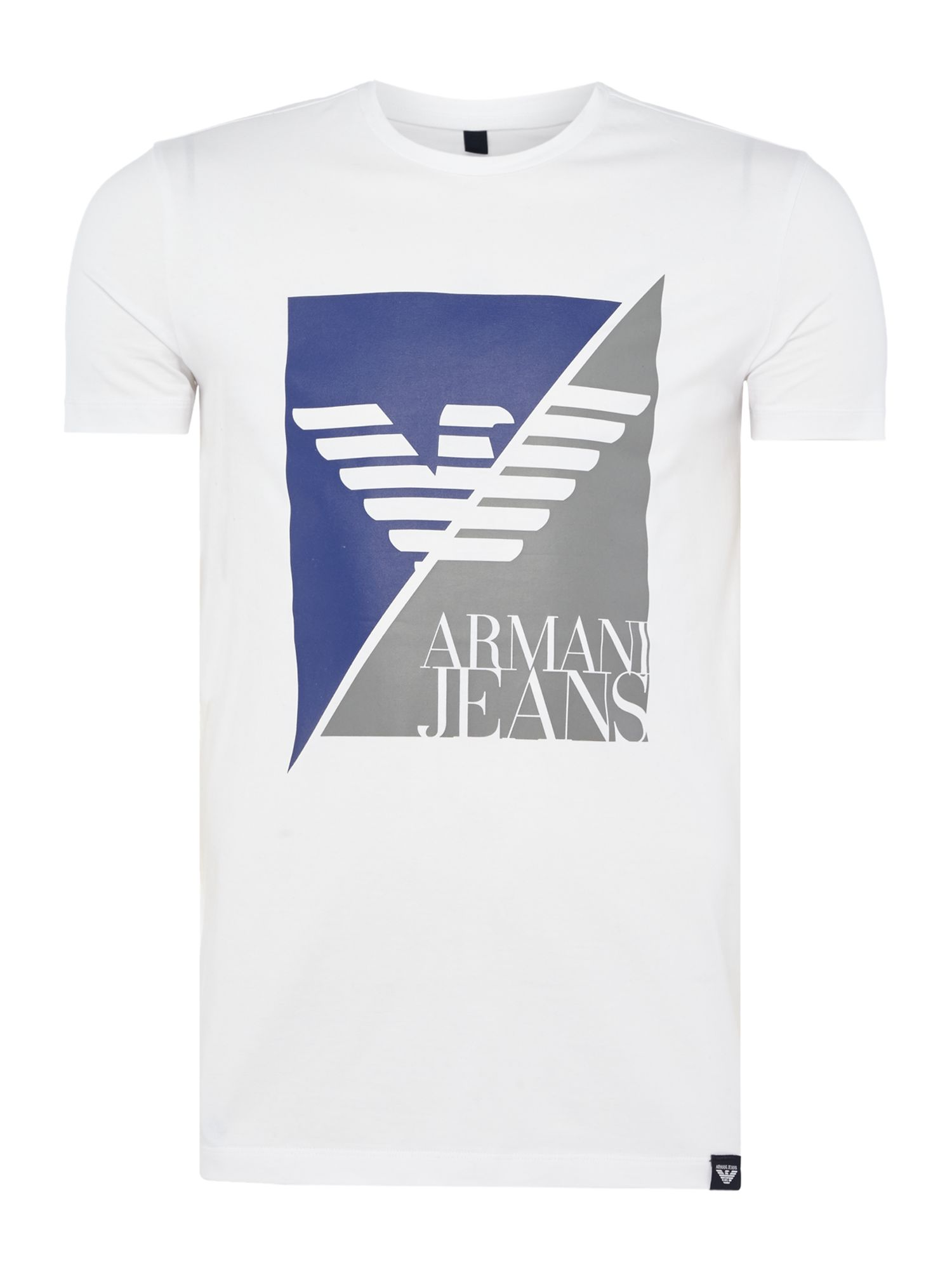 Men's Armani Jeans Split Box Print Crew Neck T-Shirt, White