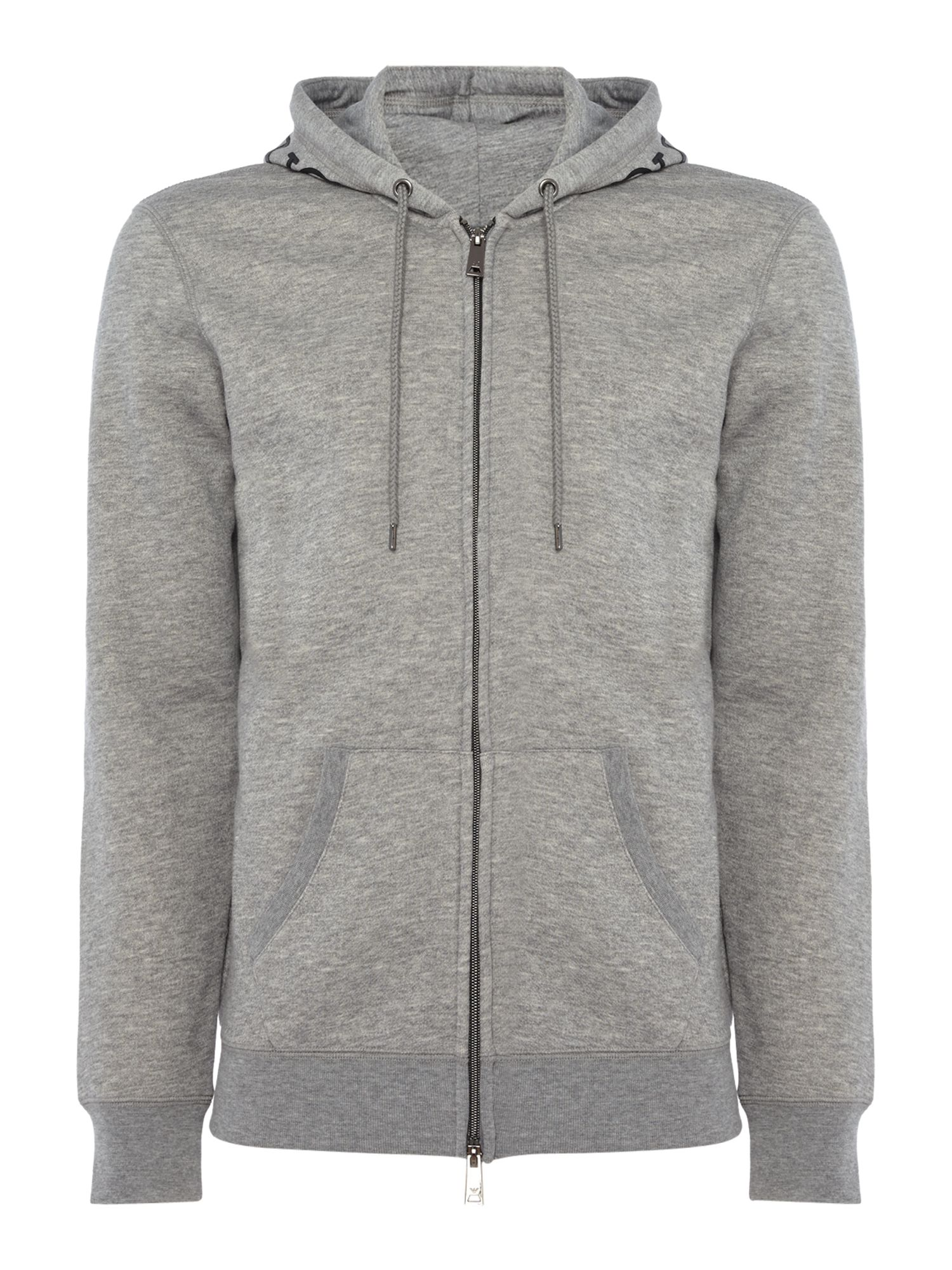 Men's Armani Jeans Back Eagle Print Zip-Through Hooded Sweat, Grey