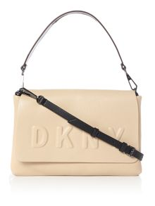 DKNY Debossed logo flap shoulder bag