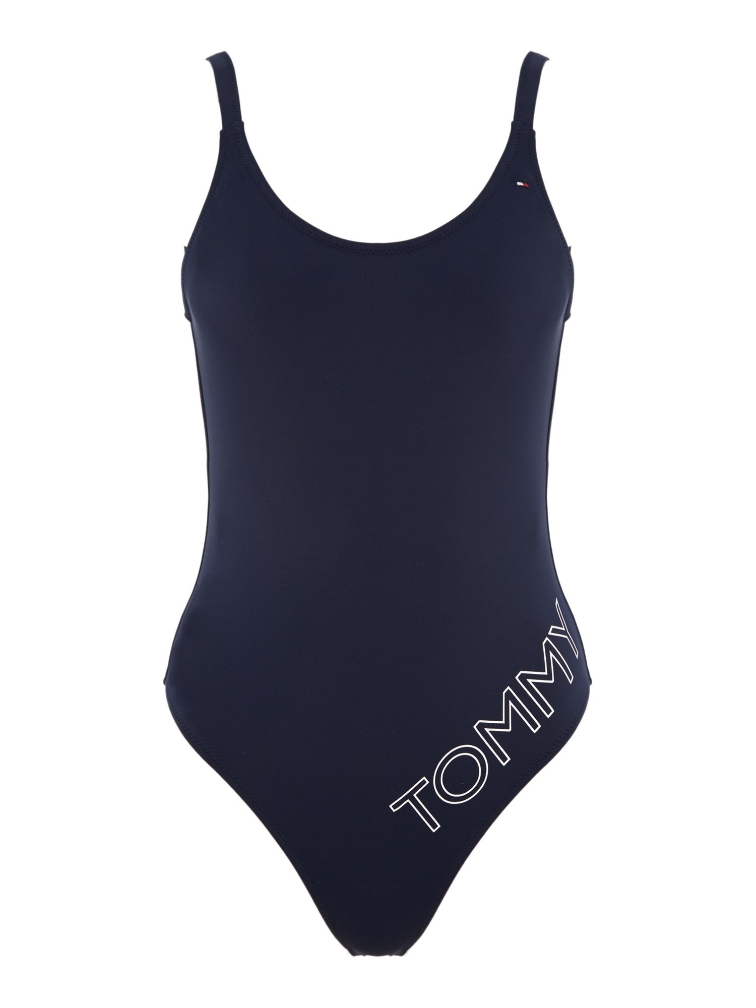 Tommy Hilfiger Logo high cut swimsuit, Blue