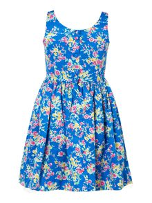 Polo Ralph Lauren Girls Floral Poplin Sleeveless Dress