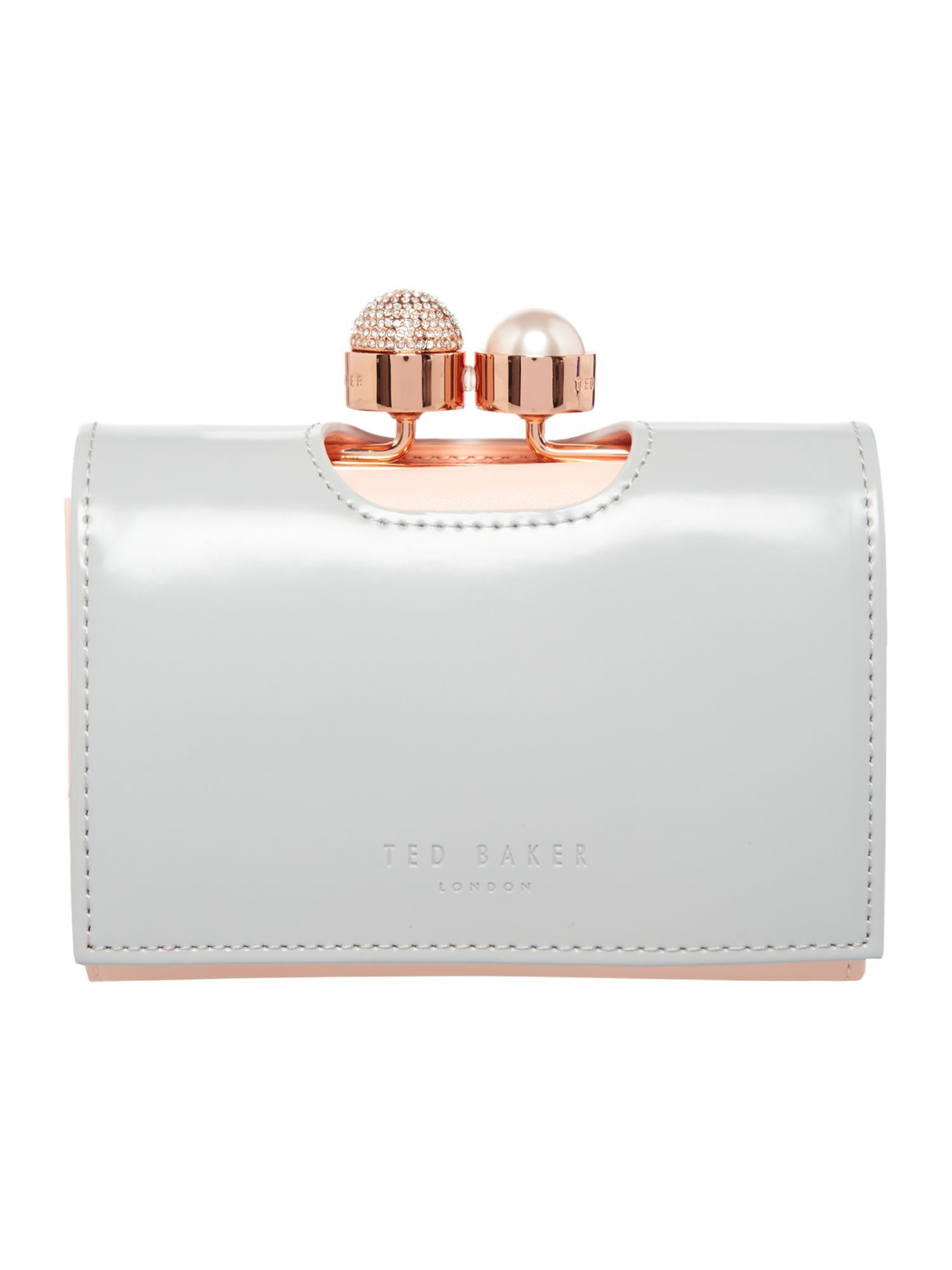Ted Baker Emmey small flapover purse Light Grey