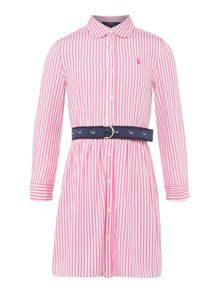 Polo Ralph Lauren Girls Thin Stripe Long Sleeve Shirt Dress