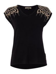Biba Studded shoulder round neck tee