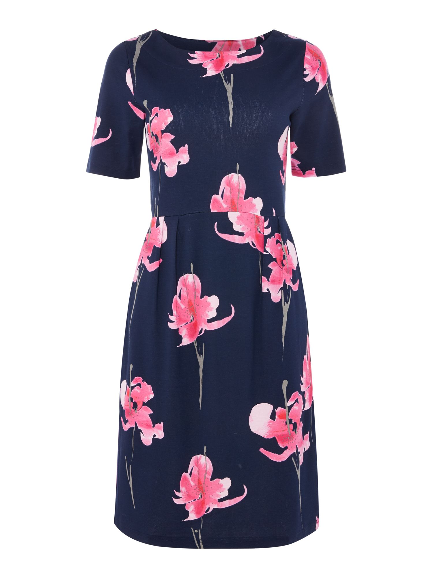 Joules Stretch pleast dress, Dark Blue