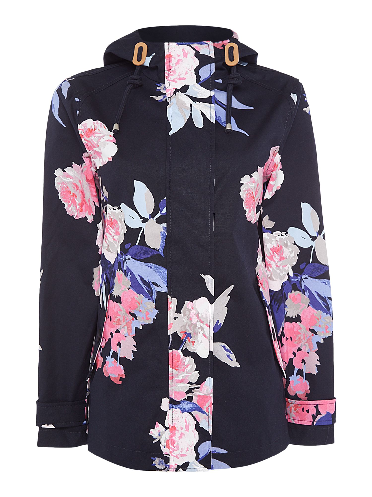 Joules Printed waterproof hooded jacket MultiColoured