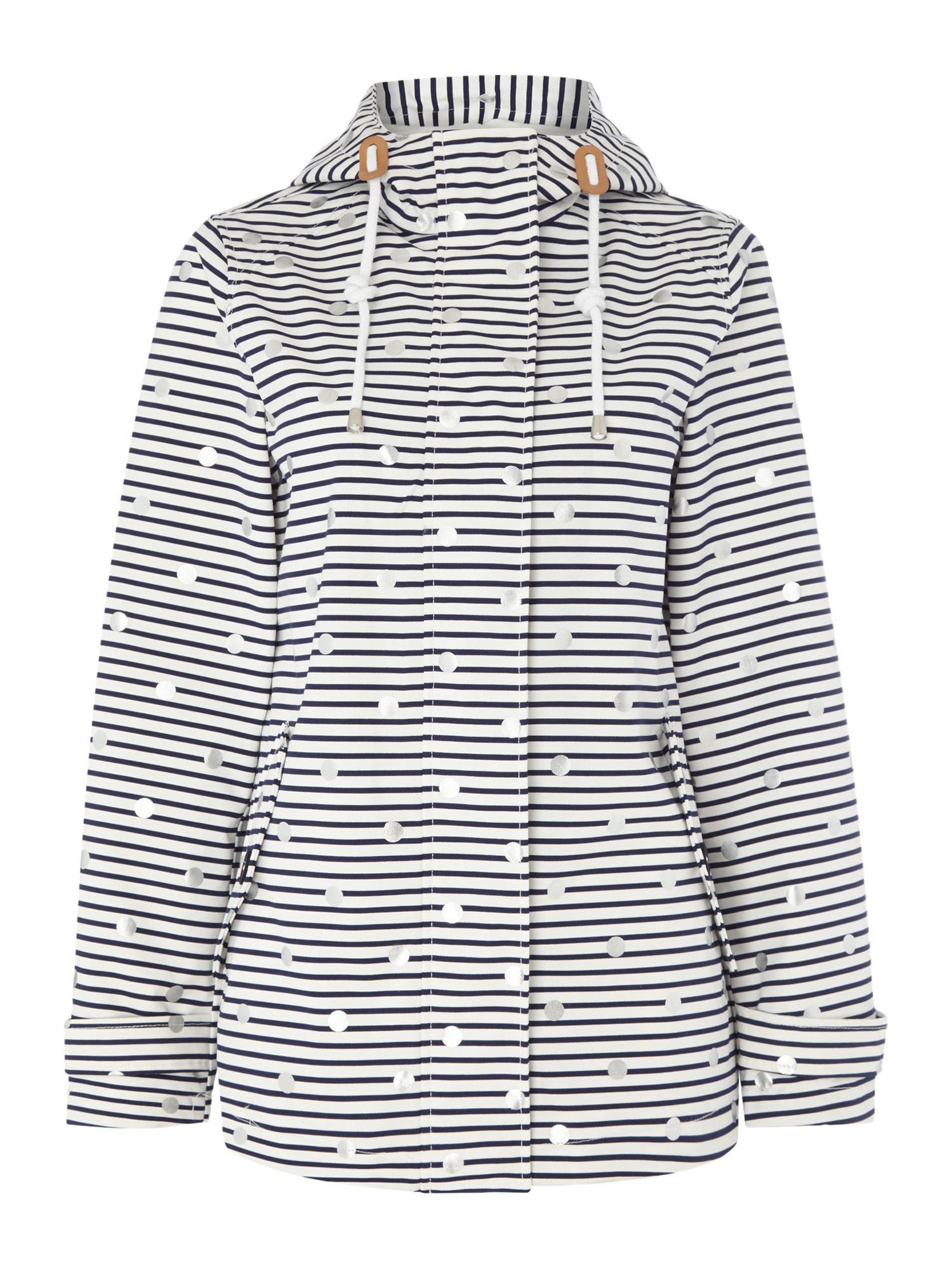 Joules Printed waterproof hooded jacket Off White