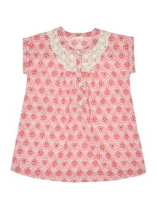 Benetton Baby Lace Trim Short Sleeve Floral Dress