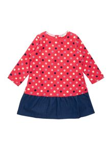 Benetton Baby Spot Top Denim Trim Long Sleeve Dress