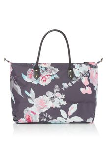 Joules Printed canvas overnight bag