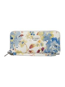 Guess Loree floral zip around purse
