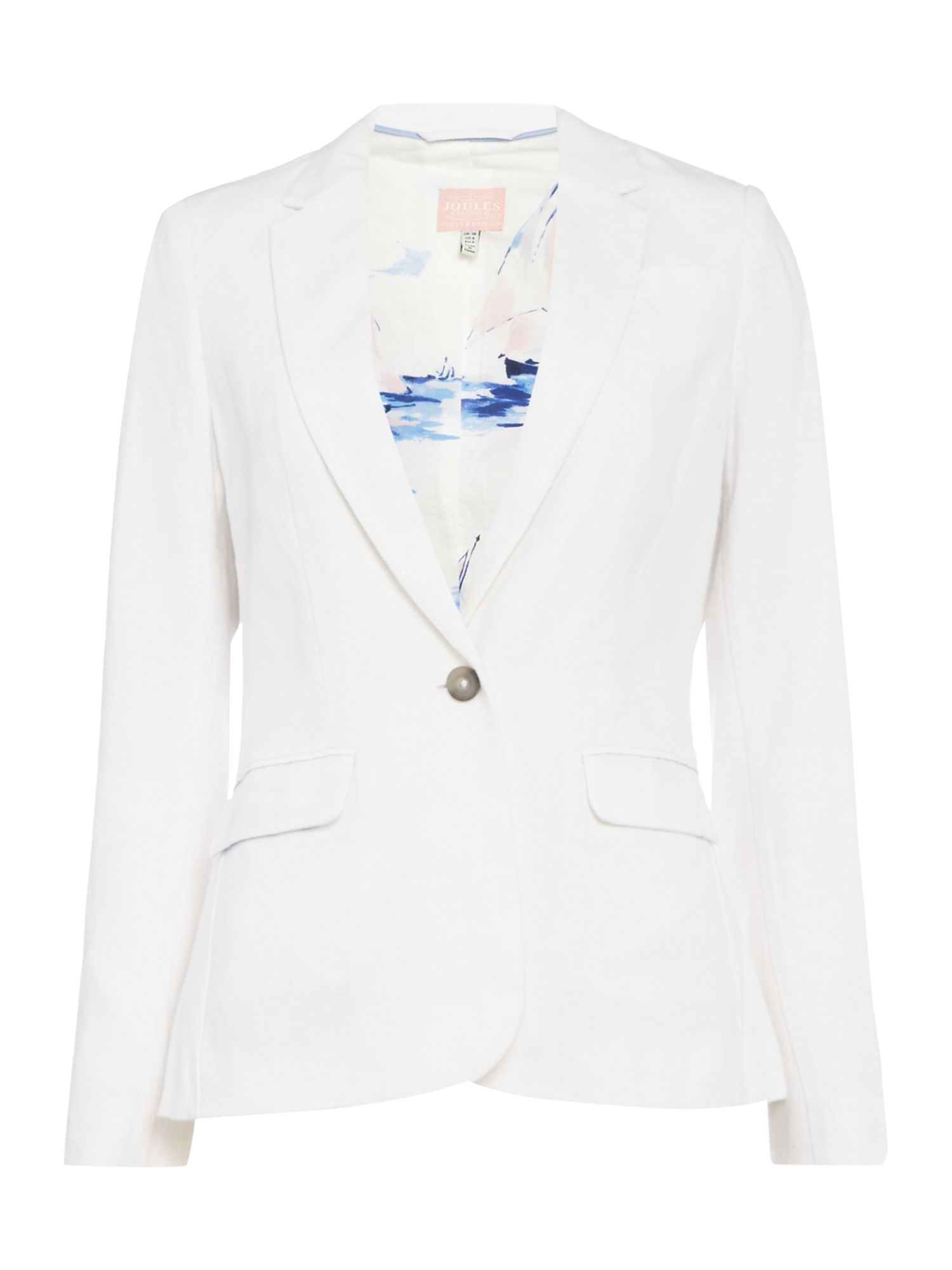 Joules One button long line linen jacket, White
