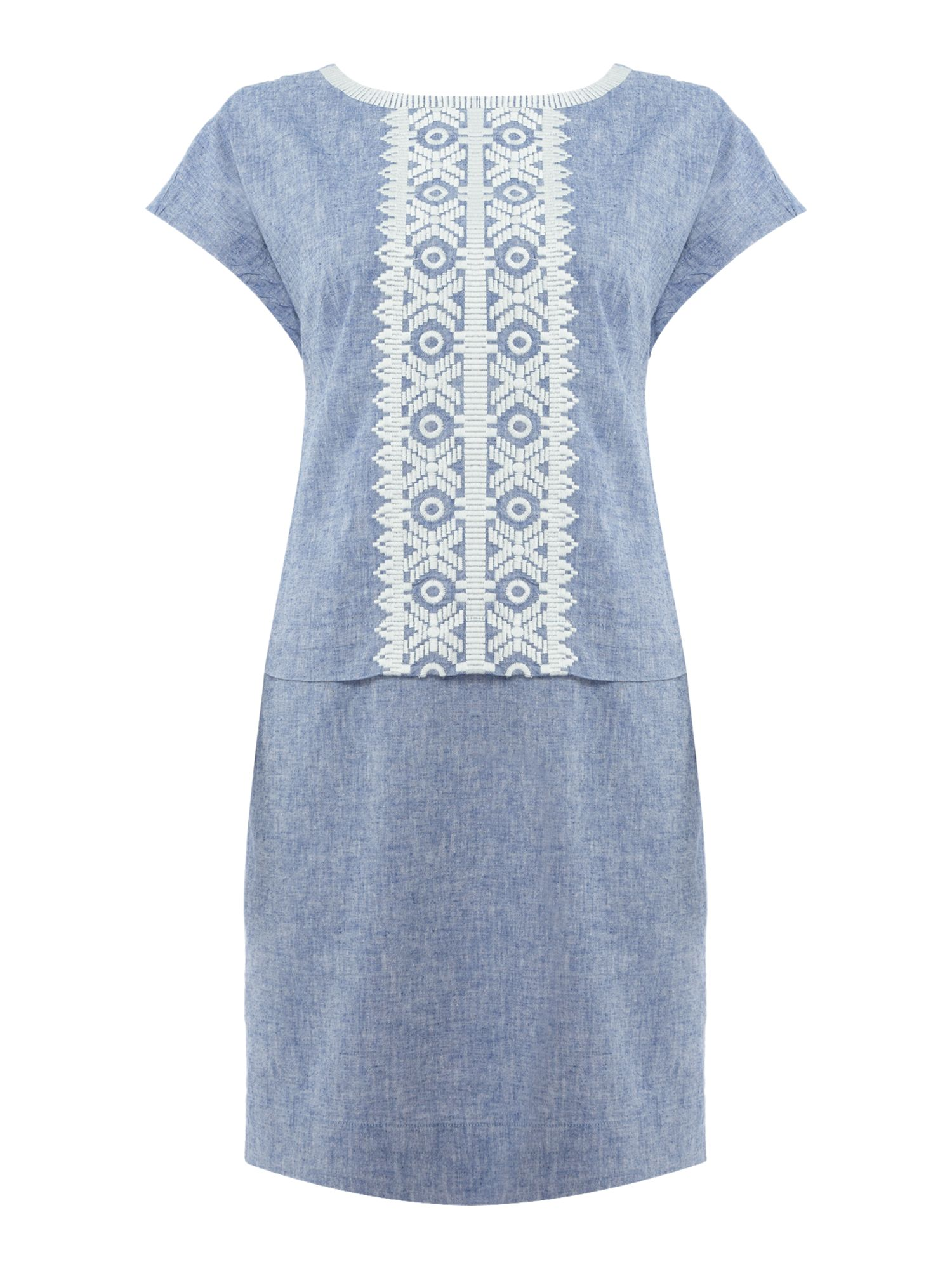Joules Embroidered linen mix dress, Blue