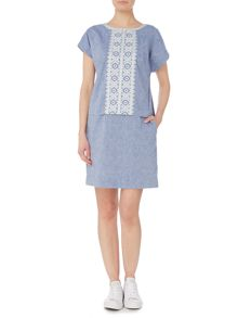 Joules Embroidered linen mix dress